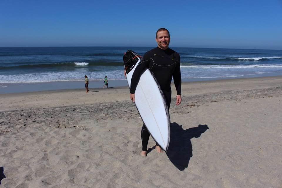 Lead Guitarist Tommy Fedak surfing San Diego